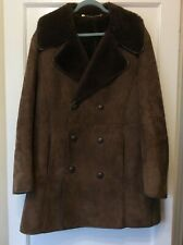 "sheepskin coat Size 40"" Oakleaf Dark Brown Double Breasted Jacket"