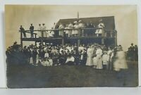 RPPC Large Gathering Many Old Men Possibly Vets c1907 Real Photo Postcard N17
