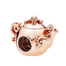 1Pcs Teapot Rose Gold Charm bead Fit 925 Bracelet/Necklace Chain