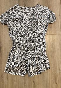 Size M (8-10) Seafolly Black White Geometric Jumpsuit