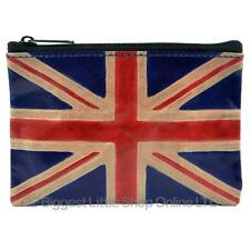 *New Mens Ladies Handcrafted Leather Union Jack Coin Purse Handy Zipped*