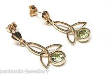 9ct Gold Peridot Drop Earrings Gift Boxed made in UK