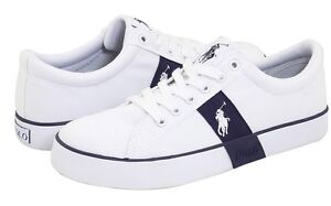 Polo Ralph Lauren Giles Youth Shoes Sz 3 White Leather Sneakers Blue Little Kid