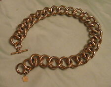 """ANNE KLEIN Gold Tone 16"""" Choker Necklace 7/8-inch Wide Rope Links Toggle"""