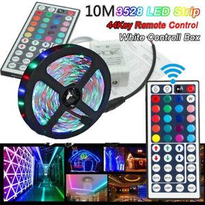 32ft RGB Strip Light 600 LED Color Changing 3528 Flexible 44key Remote TV Bar