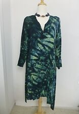 Grau Haus Design OOAK Tie Dyed Black Green Dress Large