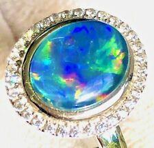 Classic Romantic Australian Opal Doublet Ladies ring 9 black Sapphire Doublet S