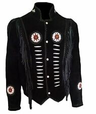 Classyak Men's Western Cowboy Fringed & Boned Suede Leather Jacket