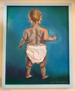 """Baby Blues Underpants 17""""x21"""" Original Oil Painting Wood Framed Blues"""