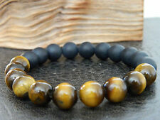 Men 10mm Natural Matt Black Agate Tiger's Eye Beaded Bracelet.Yoga.Meditation
