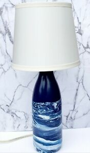 Navy Blue Table Lamp/Hand Painted Glass Wine Bottle Lamp Navy Blue