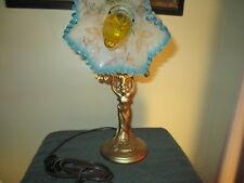 Original Art Nouveau Lady Sculpture Desk Lamp / Beautiful Designed Glass Shade