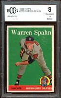 1958 Topps #270 Warren Spahn Card BGS BCCG 8 Excellent +