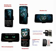 Cheshire Cat Inspired Crazy All Mad Quotes leather phone case for Huawei Samsung