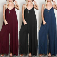 Womens Summer Sleeveless Sexy V Neck Loose Jumpsuit Playsuit Wide Leg Trousers