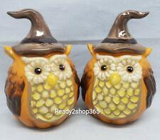 Pumpkin Owl Salt And Pepper Shakers Set Ceramic Shaker Fall Thanksgiving Decor