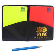 Referee Cards Red/Yellow Football Sport Wallet Notebook Pencil Soccer Refs Set@