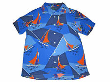 Polo Ralph Lauren Blue Hawaiian Sailing Regatta Camp Full Button Shirt XXL 2XL