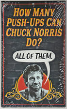 """Chuck Norris - How Many Push-Ups? - Metal Sign - 10"""" x 6"""" - NEW - Delta Force 2"""