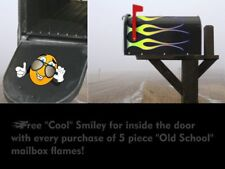 Mailbox decals stickers - Hot Rod Flames - 5pc set - Color: Lemon/Lime