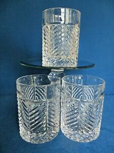 Lot 3 RALPH LAUREN Crystal HERRINGBONE  OLD FASHIONED Glasses Etched RLL