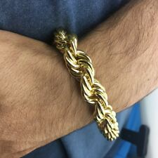 """Mens 14K Gold Plated Hollow Rope Chain Hip Hop Big Bracelet 9""""Inch  x 14MM Wide"""
