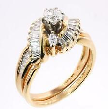 1.00 Carat Round & Baguette Diamond Engagement Wedding Rings 14k Yellow Gold