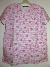 Lot of 2 Scrubs Breast Cancer Awareness Pink hearts Top Sz small Samantha Mara