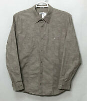 Mens Calvin Klein XL Gray Brown Paisley Long Sleeve Button Front Shirt Cotton