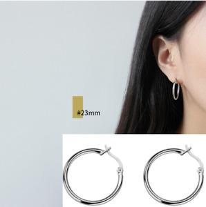 Men Women White Gold Plated 925 Sterling Silver Hoop Huggie Pierced Earrings A30
