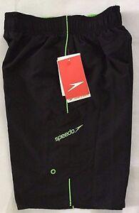 NWT Boy's Speedo Swim Board Shorts Trunks Black Size Small MSRP $30 UPF 50+