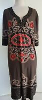 MY SIZE Taupe/Black/Coral Stretch Knit Tunic/Dress Size S