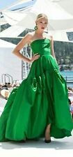 Oscar De La Renta Kelly Green Strapless Silk Ball Gown Dress Cocktail Belt Puffy