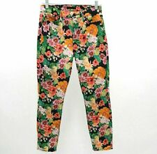 7 for All Mankind Skinny Jeans High Waist Ankle Gwenevere W28 L25 Black Floral