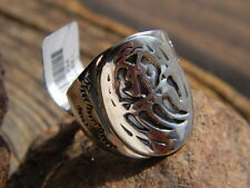 Sterling silver Navajo mens stamped bear paw pattern ring size 10, 11, or 12
