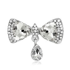 Fashion Princess Bow Dangle Jewelry Bridal White Rhinestone Glass Brooch Pin