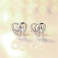 Stud Earrings 925 Silver Jewellery Stunning Gift Swirl Heart Womens
