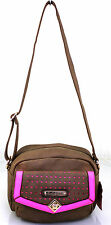 WOMENS LYDC ANNA SMITH BROWN LEATHER STYLE CROSSBODY SHOULDER SATCHEL HANDBAG