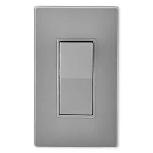 Leviton Decora Rocker 4-Way AC Quiet Switch, 15A, 120/277V, Gray (5604-2GY)
