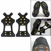 10Zähne/Nagel Eis Steigeisen Spike AntiRutsch Schuhabdeckung für Klettern Angeln