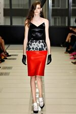 BALENCIAGA PARIS pointy black bustier and red leather strapless AW12 dress 38-FR