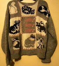 EAGLE'S EYE 1987 Cat Lady Mouse Kittens Vintage Retro 80s Sweater 100% Wool S