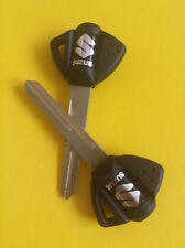 PAIR 2 SUZUKI KEY BLANKS HAYABUSA GSXR 600 750 1000 2001-2009 BLACK NEW FACTORY