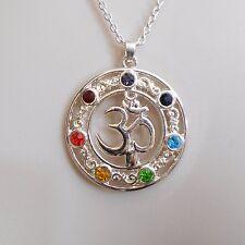 Bohemian Yoga Energy OHM AUM OM 7 Chakra Pendant on 18 Inch Chain C70