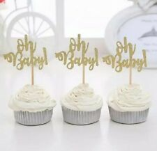 BABY SHOWER GLITTER OH BABY CUPCAKE TOPPERS GENDER REVEAL PARTY BOY OR GIRL