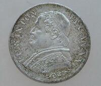 Coin Münze 1 Lira Vatikan 1866 Papst Pius IX. Silber silver Silbermünze