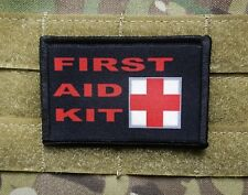 FIRST AID KIT Black 2x3 Tactical Hook Military Morale Patch IFAK Kit Marker