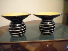 More details for babbacombe pottery flared neck vases  black / yellow stripes x 2