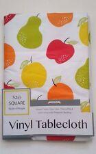 "Fruit Design Pears Apples Oranges 52"" Square Vinyl TableCloth Dining Decor"