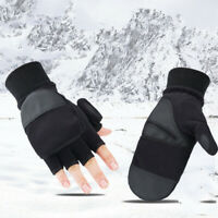 Men's Winter Warm Fingerless Convertible Gloves Thermal Ski Photography Mittens